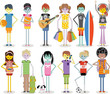 Group of cartoon young people. Colorful teenagers.