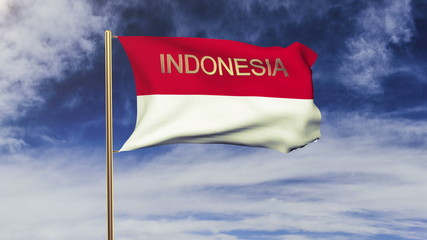Indonesia flag with title waving in the wind. Looping sun rises