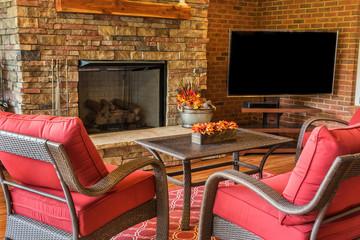 Backyard Deck with Fireplace