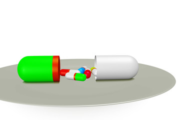 Medication capsule lying on the Tablet