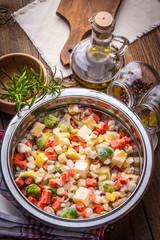 Frozen vegetables in a bowl.