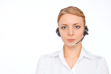 Support phone operator  in headset, blonde girl