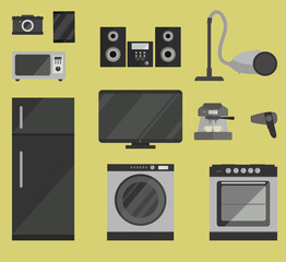 Set of household appliances in flat style