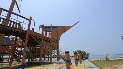 Pirate ship playground structure in the park