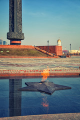 The eternal flame at the Poklonnaya Hill in Moscow