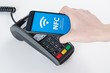 Leinwanddruck Bild - Mobile payment with NFC near field communication technology