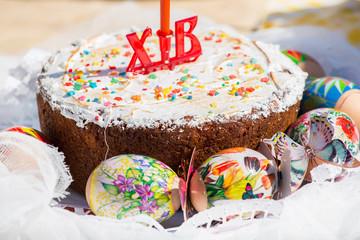 cake candied fruit and sugar powder