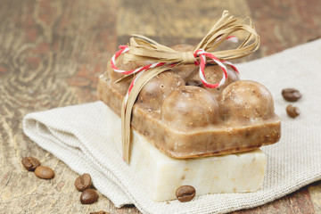 Coffee soap on wood table with linen napkin