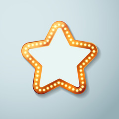 Retro cinema bulb sign star shape