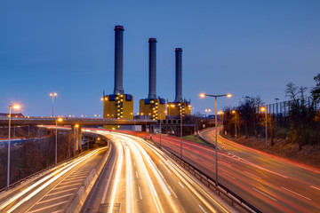 Power generating plant and a highway at night