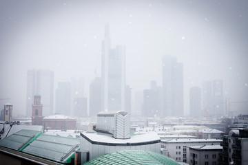 Frankfurt am Main, winter, snowfall, skyline, city