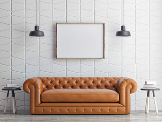 poster on pattern wall, sofa, 3d render