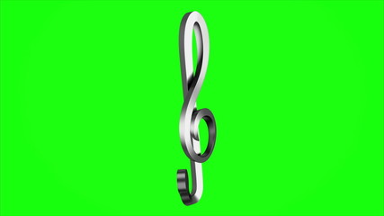 metallic treble clef loop rotate on green chromakey background