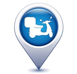 scooter de livraison sur marqueur géolocalisation bleu
