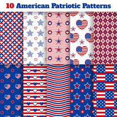 Set of American seamless patterns