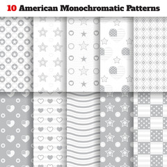 Set of monochromatic American seamless patterns