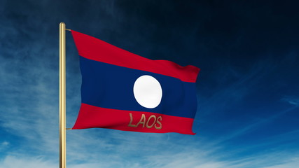 Laos flag slider style with title. Waving in the wind with cloud