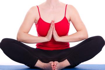 Frau meditieren in Yoga Pose - isoliert