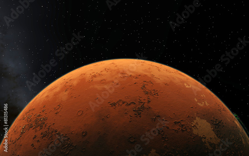 Foto op Canvas UFO Mars Scientific illustration - planetary landscape