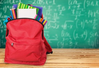 School. Schoolbag with supplies for education