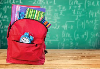 Backpack. Backpack and School Stationery Isolated on White
