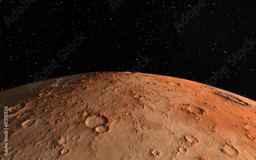 Mars  Scientific illustration -  planetary landscape - 81315836