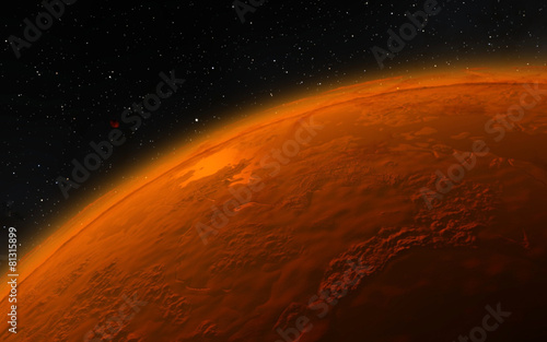 Leinwanddruck Bild Mars  Scientific illustration -  planetary landscape
