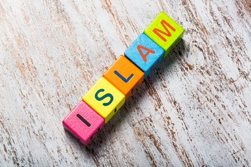 Islam. Word islam on colorful wooden cubes
