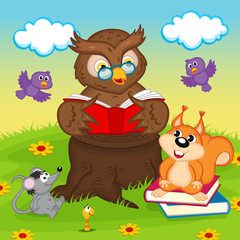 owl reading a book for animals - vector illustration, eps