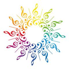 Music Clefs Radial Rainbow Pattern