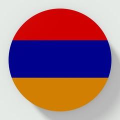 Button Armenia flag isolated on white background
