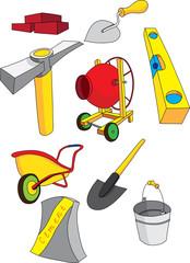 Набор инструмента предназначенного для строительства, концепция