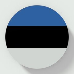 Button Estonia flag isolated on white background