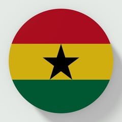 Button Ghana flag isolated on white background