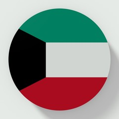 Button Kuwait flag isolated on white background