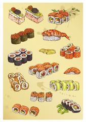 illustration of hand drawing set of sushi