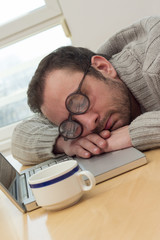 Businessman napping
