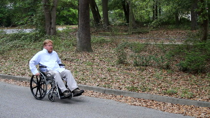 Disabled Man Using Wheelchair