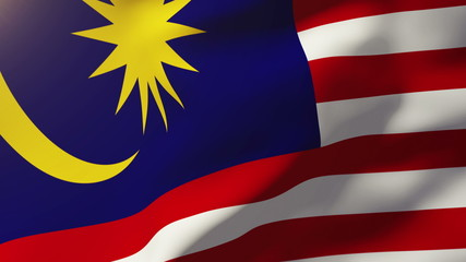 Malaysia flag waving in the wind. Looping sun rises style