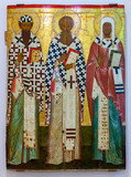Antique Russian orthodox icon of SS Cyril and Athanasius of Alex