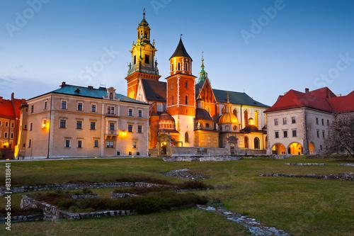 Royal castle Wawel in city of Krakow, Poland.