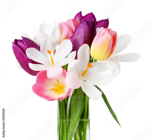 Fotobehang Krokussen Fresh bouquet with tulips and crocus isolated on white