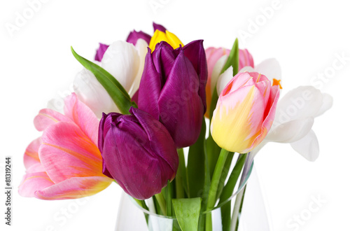 Canvas Krokus Fresh bouquet with tulips and crocus isolated on white
