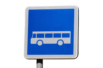 Panneau carré de signalisation de voie réservée aux bus