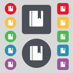 book bookmark icon sign. A set of 12 colored buttons. Flat desig