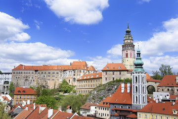 Castle and roofs of city of Cesky Krumlov