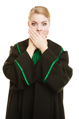 Womn lawyer attorney covering mouth with hands