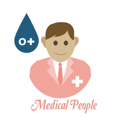 Medical people, blood drop over color background