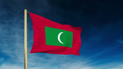 Maldives flag slider style. Waving in the wind with cloud