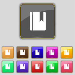 book bookmark icon sign. Set with eleven colored buttons for you